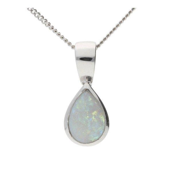 9ct White Gold 7mm Opal Solitaire Pear Shape Pendant