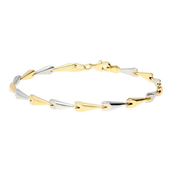 9ct Yellow & White Gold Fancy Chevron Link Bracelet