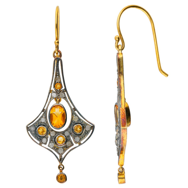 Victorian Inspired Citrine & Diamond Drop Earrings