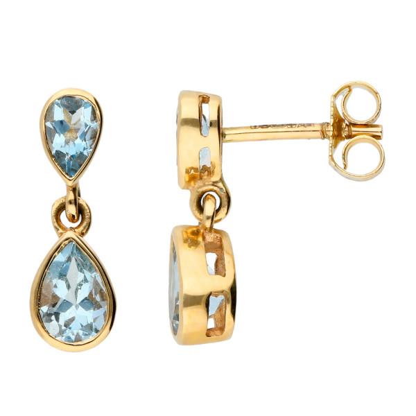 9ct Yellow Gold Double Aquamarine Drop Earrings Online