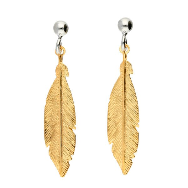 Sterling Silver Yellow Gold Plated Feather Earrings