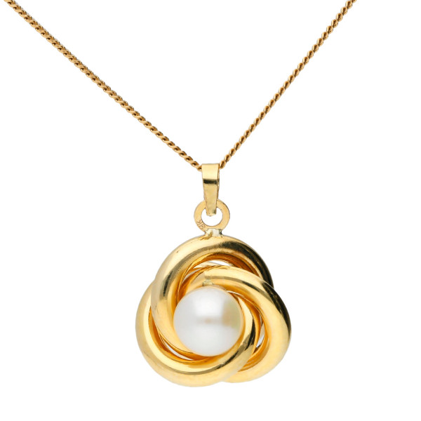 9ct Yellow Gold Fresh Water Pearl Knot Pendant