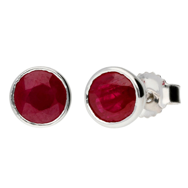 9ct White Gold 5mm Round Ruby Earrings