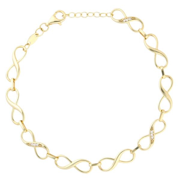 9ct Yellow Gold & Cubic Zirconia Infinity Bracelet