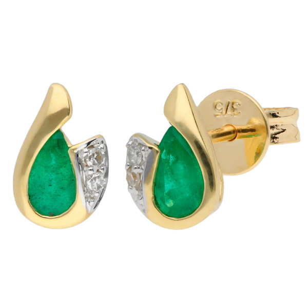 9ct Yellow Gold Emerald & Diamond Curl Stud Earrings