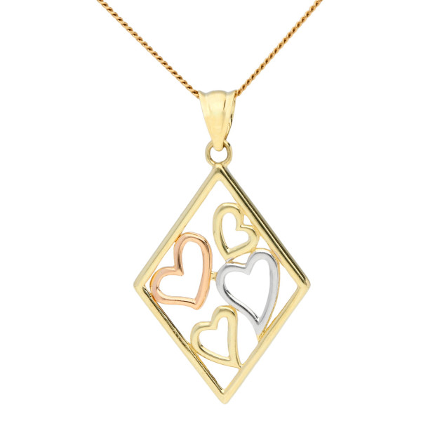 9ct Yellow,White & Rose Gold Diamond Shaped Heart Pendant
