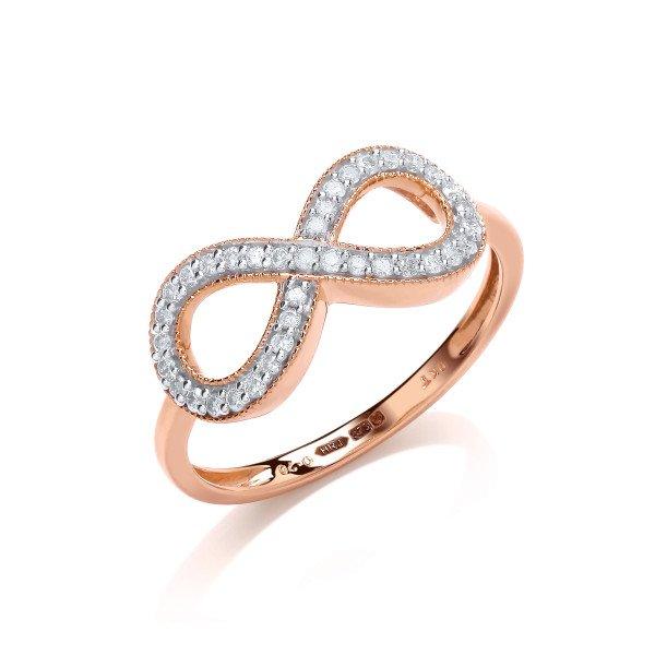 9ct Yellow Gold 0.20ct Diamond Infinity Ring