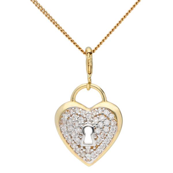 9ct Yellow Gold & Cubic Zirconia Heart Padlock Pendant