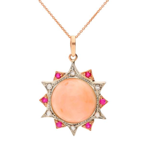 Handcrafted Italian Coral, Ruby & Diamond Fancy Pendant