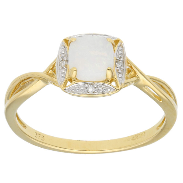 9ct Yellow Gold Opal & Diamond Cushion Halo Ring