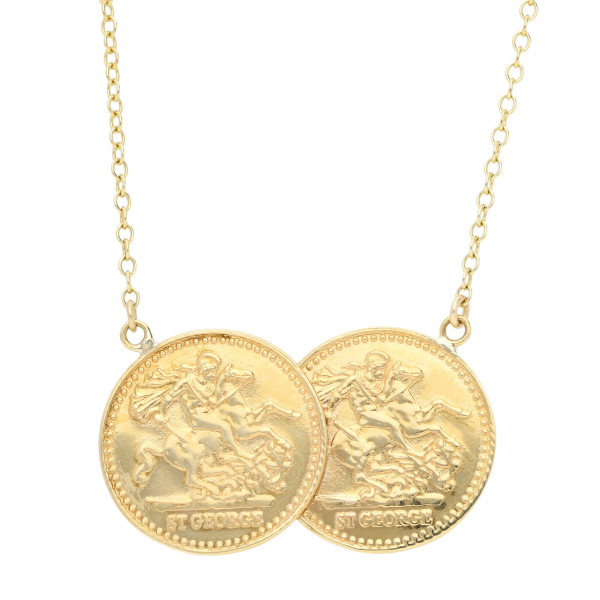 9ct Yellow Gold Double Coin St George Half Sovereign Necklace