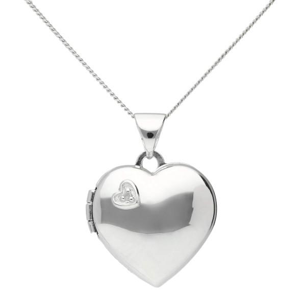 9ct White Gold Diamond Heart Locket