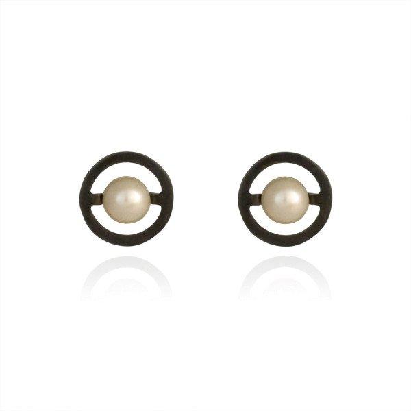 c061517e9 Black Oxidised Sterling Silver Orbit White Pearl Stud Earrings | Buy ...