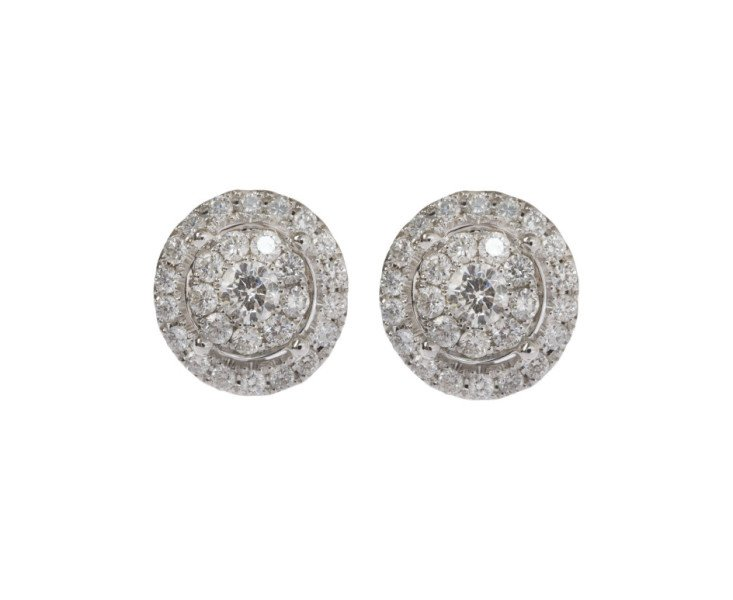 18ct White Gold 1.85ct Diamond Cluster Earrings