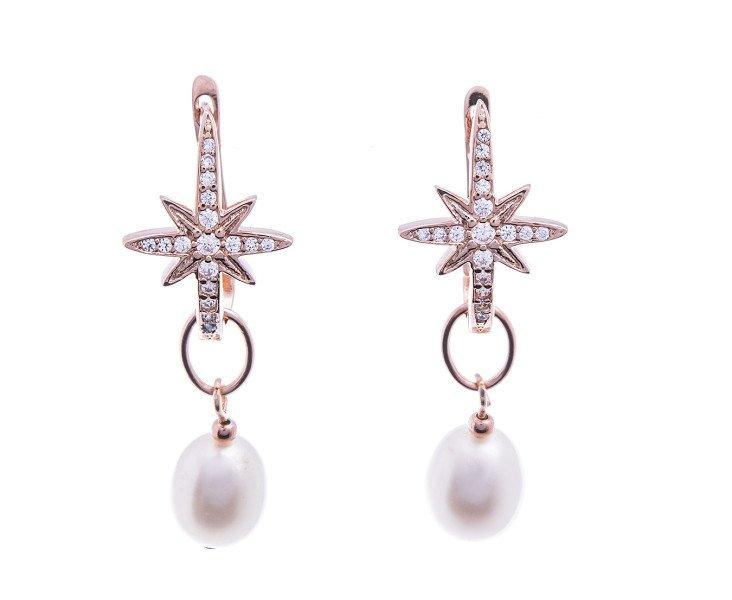 Sterling Silver Rose Gold Vermeil Star Burst Pearl Drop Earrings