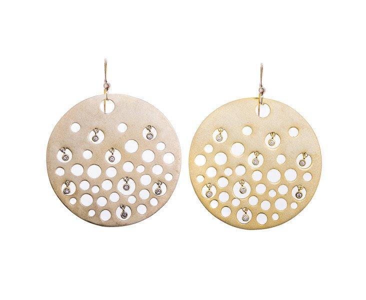 Sterling Silver & Gold Vermeil Disk Drop Earrings