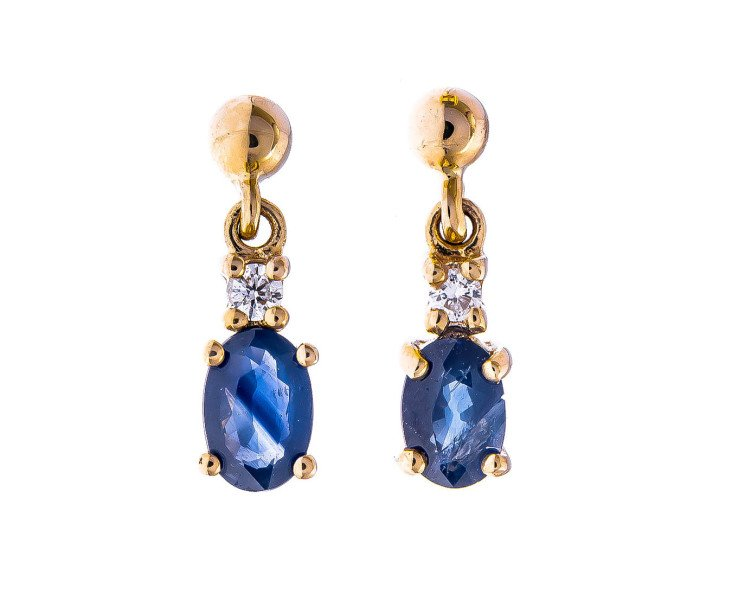 bd6cb6568b17 9ct Yellow Gold 1.00ct Sapphire   Diamond Drop Earrings