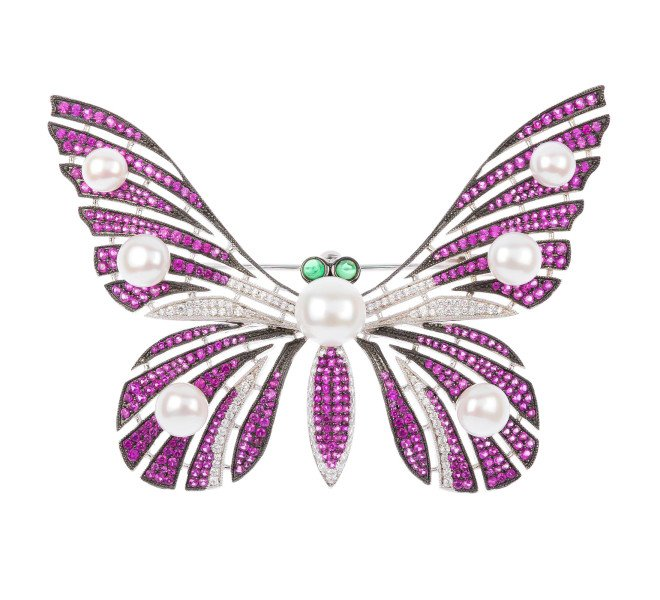 Sterling Silver Cultured Pearl Butterfly Brooch
