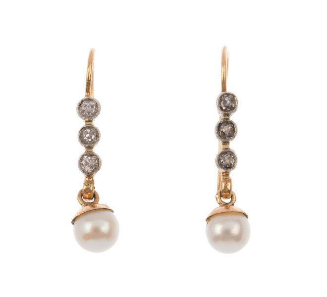 Art Deco 9ct Yellow Gold Diamond & Cultured Pearl Drop Earrings
