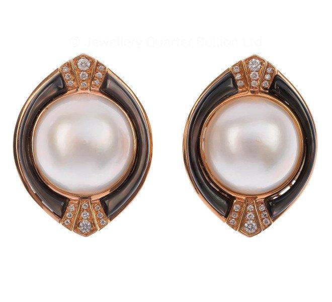 Art Deco Style 13.5mm Mabe Pearl & Diamond Earrings