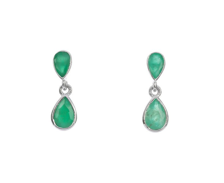 9ct White Gold 1 05cts Emerald Drop Earrings