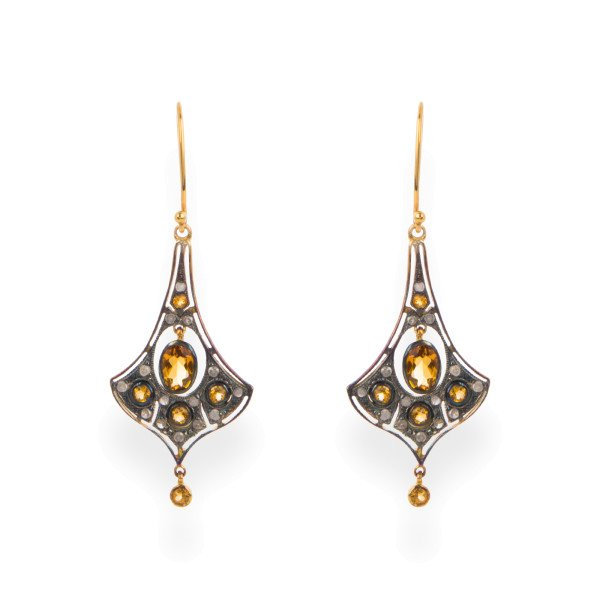 Victorian Inspired Citrine & Diamond Drop Earrings