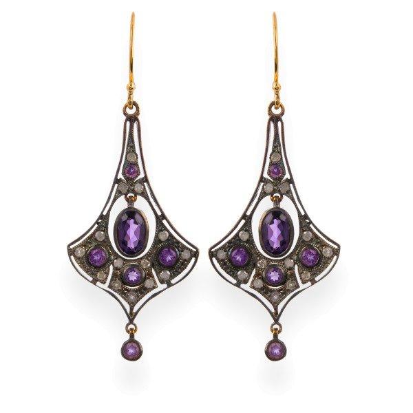 Victorian Inspired Amethyst & Diamond Drop Earrings